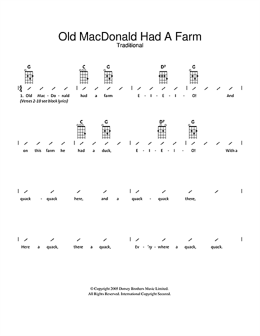 Tablature guitare Old MacDonald Had A Farm de Traditional - Ukulele (strumming patterns)