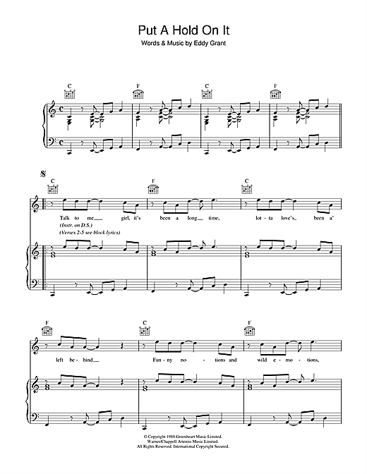 Put A Hold On It Sheet Music