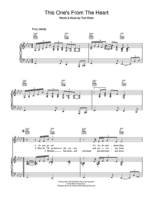 This One's From The Heart Sheet Music