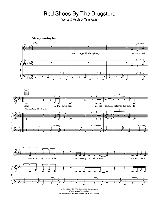 Red Shoes By The Drugstore Sheet Music