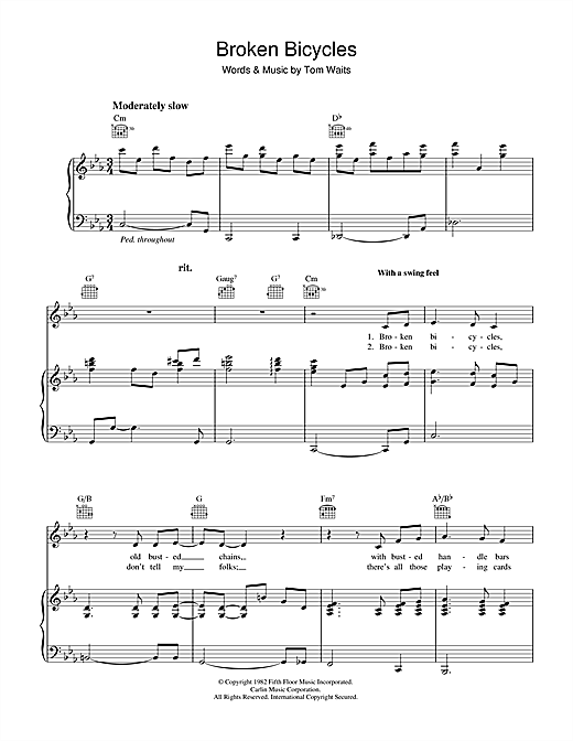 Broken Bicycles Sheet Music
