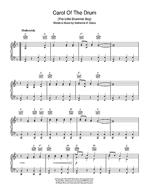 Carol Of The Drum (The Little Drummer Boy) (Piano Solo)