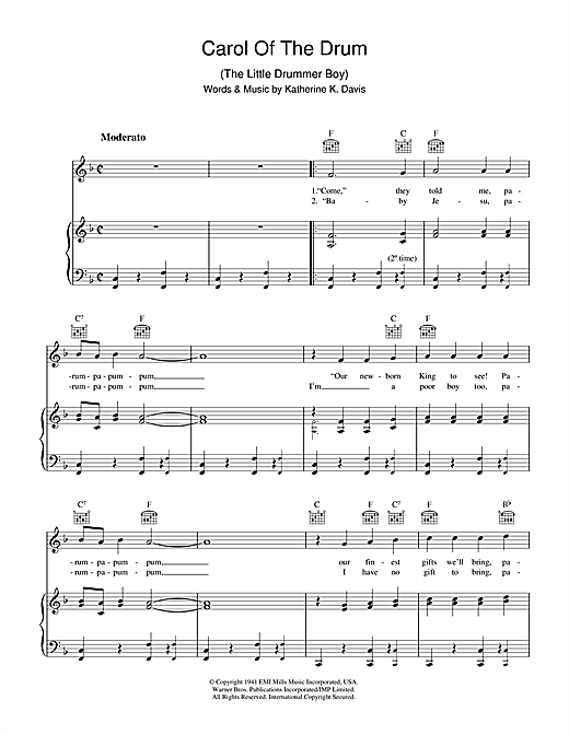 Carol Of The Drum (The Little Drummer Boy) Sheet Music