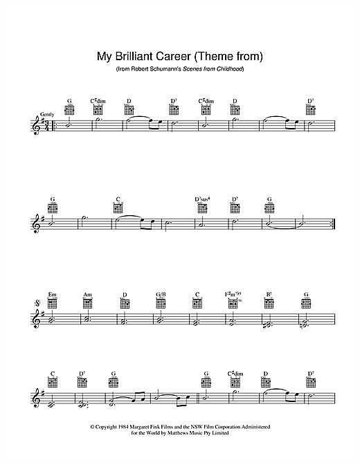 Theme From My Brilliant Career Sheet Music