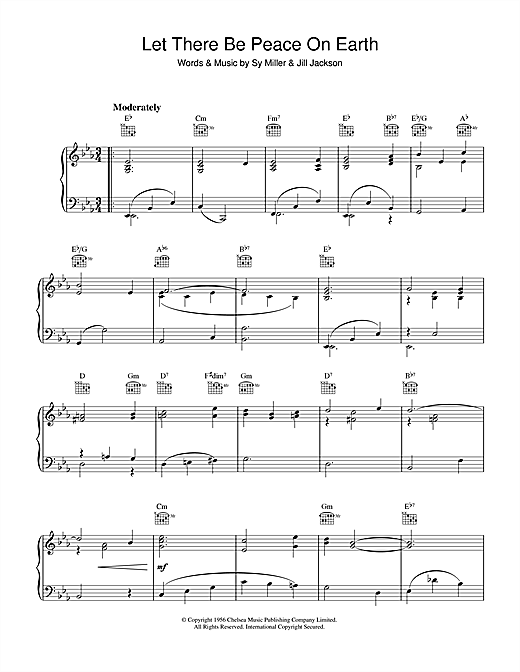 Partition piano Let There Be Peace On Earth de Sy Miller - Piano Solo