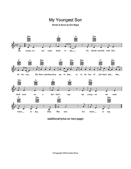 My Youngest Son Sheet Music