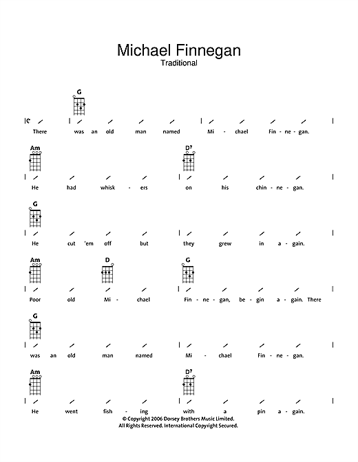 Tablature guitare Michael Finnegan de Traditional - Ukulele (strumming patterns)