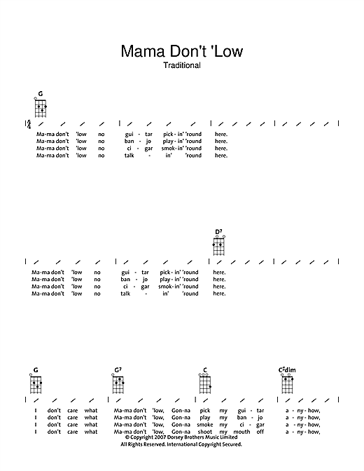 Tablature guitare Mama Don't 'low de Traditional - Ukulele (strumming patterns)