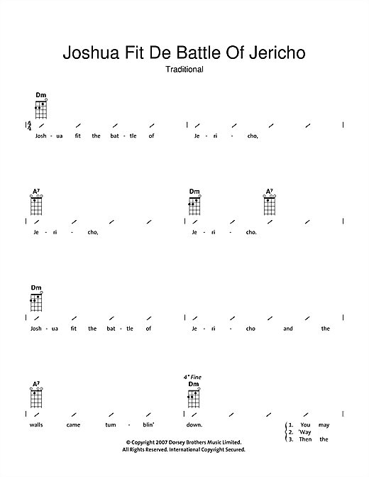 Tablature guitare Joshua Fit De Battle Of Jericho de Traditional - Ukulele (strumming patterns)