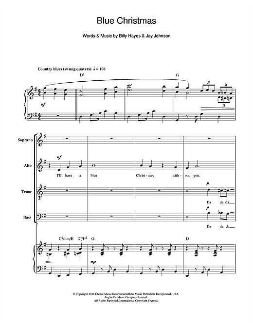 Partition chorale Blue Christmas de Elvis Presley - SATB