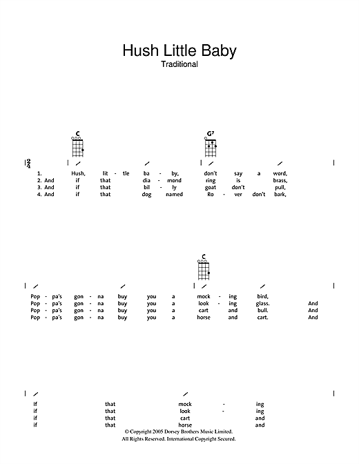 Tablature guitare Hush Little Baby de Traditional - Ukulele (strumming patterns)