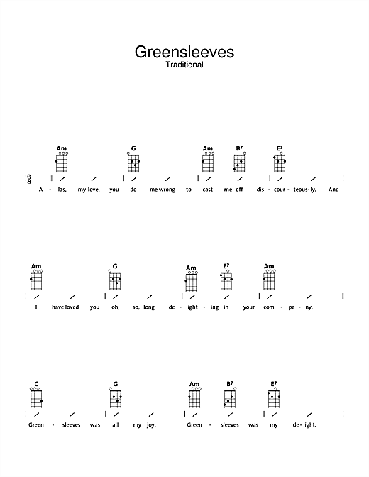 Greensleeves Sheet Music By Traditional Ukulele With Strumming