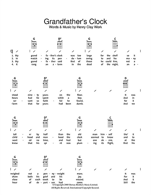 Tablature guitare Grandfather's Clock de Traditional - Ukulele (strumming patterns)