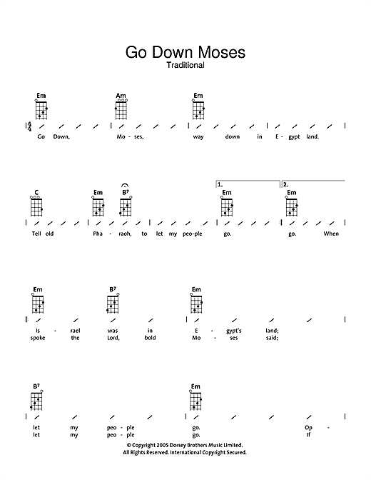 Tablature guitare Go Down Moses de Traditional - Ukulele (strumming patterns)