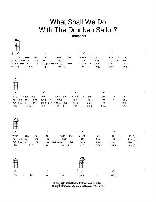 Tablature guitare What Shall We Do With The Drunken Sailor de Traditional - Ukulele (strumming patterns)