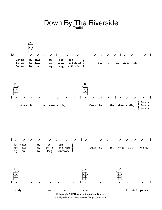 Tablature guitare Down By The Riverside de Traditional - Ukulele (strumming patterns)