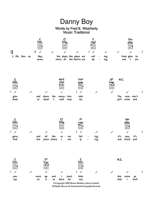 Tablature guitare Danny Boy (Londonderry Air) de Traditional Irish Song - Ukulele (strumming patterns)