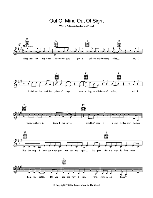 Out Of Mind, Out Of Sight Sheet Music