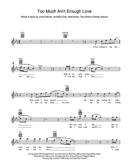 Too Much Ain't Enough Love Sheet Music