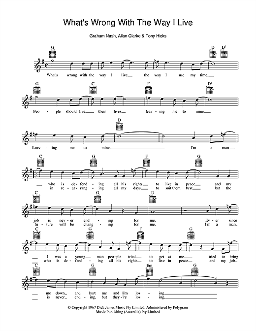 What's Wrong With The Way I Live Sheet Music