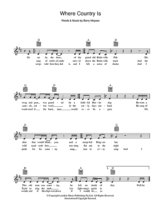Where Country Is Sheet Music