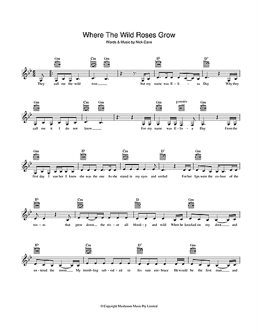 Where The Wild Roses Grow Sheet Music