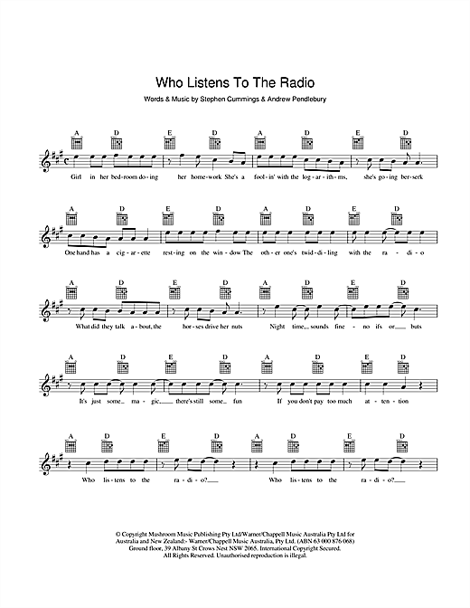 Who Listens To The Radio Sheet Music