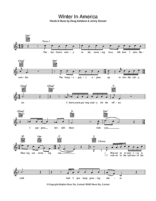 Winter In America Sheet Music