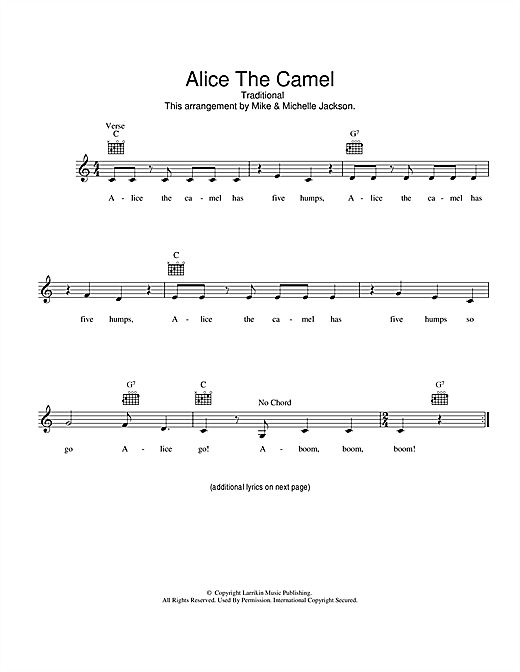 Alice The Camel Sheet Music