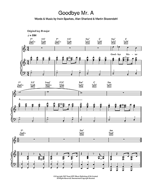 Partition piano Goodbye Mr. A de The Hoosiers - Piano Voix Guitare
