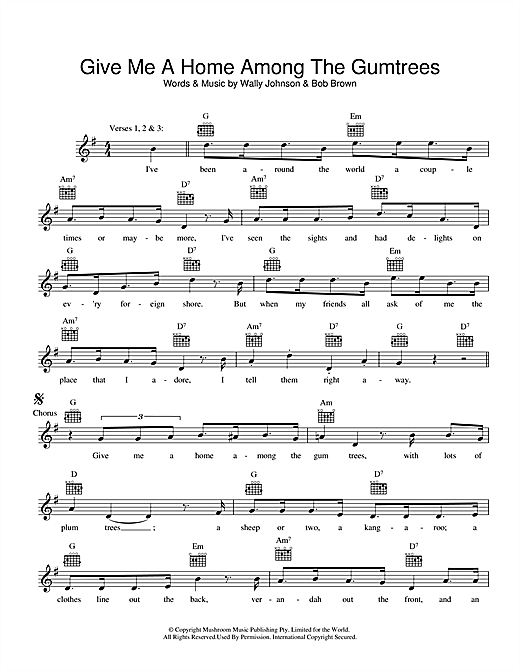 Give Me A Home Among The Gumtrees (Lead Sheet / Fake Book)