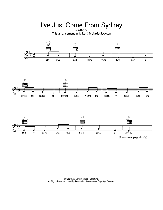 I've Just Come From Sydney Sheet Music