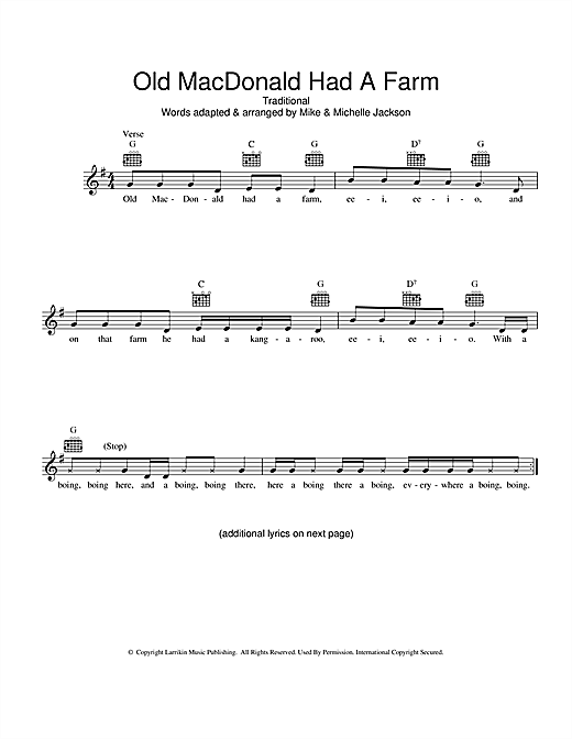 Old MacDonald Had A Farm (Australian version) Sheet Music