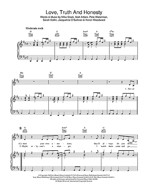 Love, Truth And Honesty Sheet Music