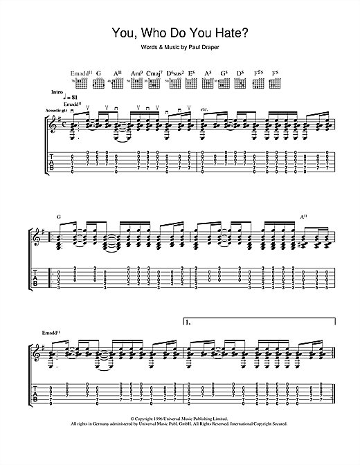 Tablature guitare You, Who Do You Hate? de Mansun - Tablature Guitare