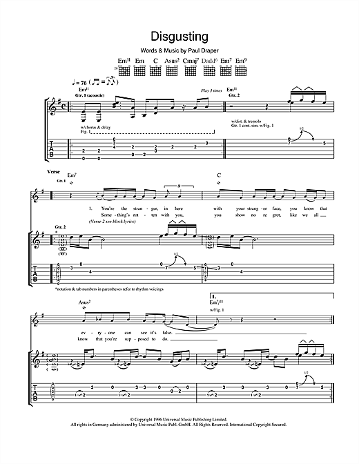 Tablature guitare Disgusting de Mansun - Tablature Guitare