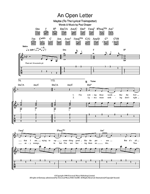 Tablature guitare An Open Letter de Mansun - Tablature Guitare