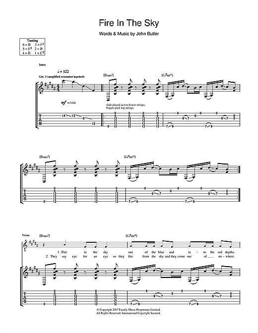 Fire In The Sky Sheet Music