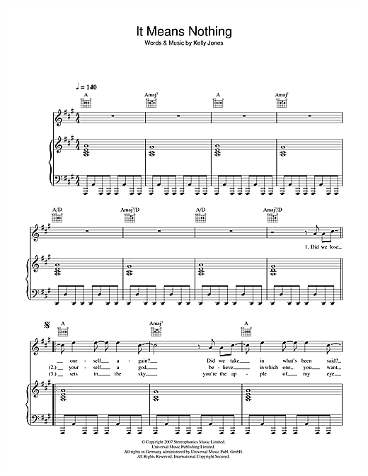 Partition piano It Means Nothing de Stereophonics - Piano Voix Guitare
