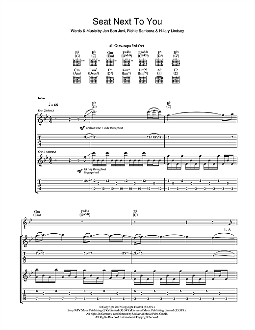 Seat Next To You Sheet Music