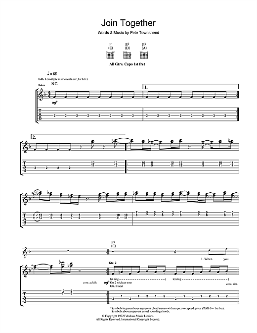 Tablature guitare Join Together de The Who - Tablature Guitare