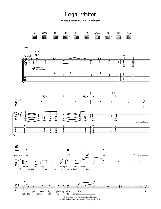 Tablature guitare Legal Matter de The Who - Tablature Guitare