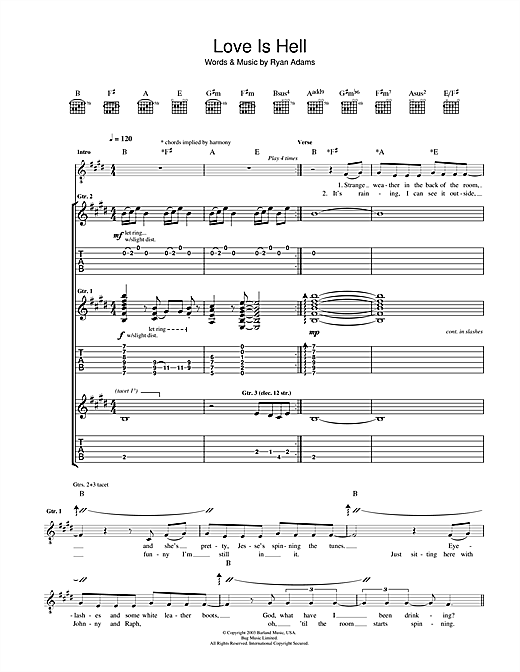 Tablature guitare Love Is Hell de Ryan Adams - Tablature Guitare