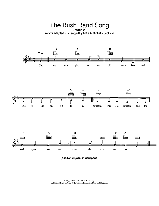 The Bush Band Song Sheet Music