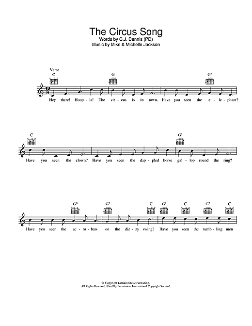 The Circus Song Sheet Music