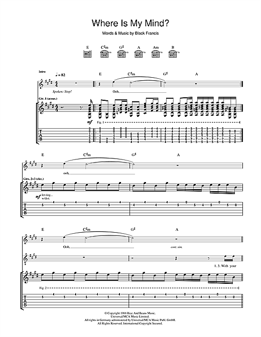 Where Is My Mind? Sheet Music