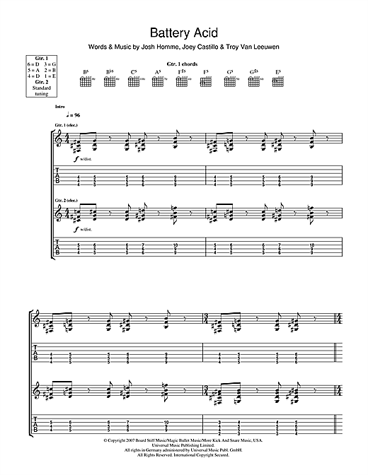 Battery Acid Sheet Music