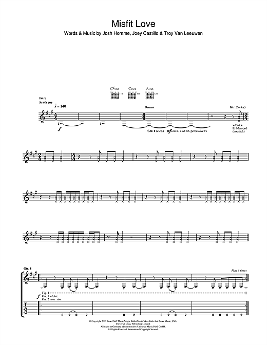Tablature guitare Misfit Love de Queens Of The Stone Age - Tablature Guitare