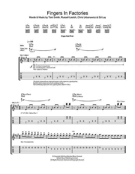 Fingers In The Factories Sheet Music