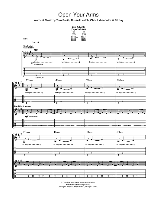 Open Your Arms Sheet Music